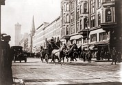 Drawn Prints - Horse-drawn Fire Engines In Street Print by Everett