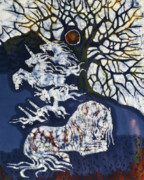 Dye Tapestries - Textiles Prints - Horse Dreaming Below Trees Print by Carol  Law Conklin