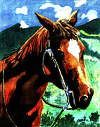 Mustang Paintings - Horse by Farah Faizal