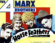 Movie Posters Framed Prints - Horse Feathers, From Left Zeppo Marx Framed Print by Everett