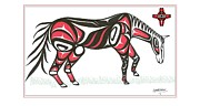 Rodeo Art Drawings - Horse grass sun red by Speakthunder Berry