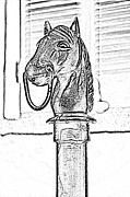 Photocopy Metal Prints - Horse Head Hitching Post Macro French Quarter New Orleans Black and White Photocopy Digital Art Metal Print by Shawn OBrien