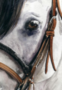 Saddle Paintings - Horse Head by Nadi Spencer