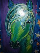 Antique Glass Art - Horse in Moonlight by Nikki Campbell