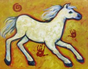 Indian Yellow Paintings - Horse Indian Horse by Carol Suzanne Niebuhr