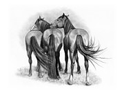 Trio Drawings Posters - Horse Love Poster by Joyce Geleynse