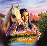 Indians Photos - Horse Maiden by Andrew Farley