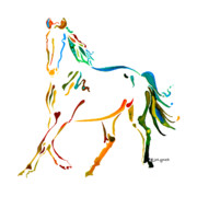 Muted Painting Prints - Horse of Many Colors - 2 Print by Jo Lynch