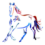 Abstract Equine Paintings - Horse of many Colors by Jo Lynch