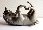 Horses Sculptures - Horse on Ground by Manish Verma