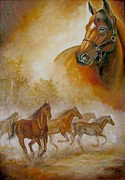 Running Horses Paintings - Horse Painting A dream of running wild by Gina Femrite