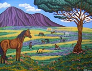 Grey Clouds Drawings Posters - Horse Paradise Poster by Jennifer  Foslien-Wheeler