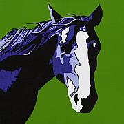 Pop Portrait Painting Originals - Horse Play Blue by Sonja Olson