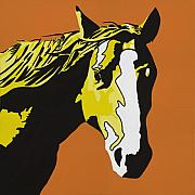 Pop Portrait Painting Originals - Horse Play Yellow by Sonja Olson
