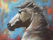 White Horse Painting Originals - Horse Power by Harvie Brown