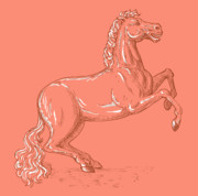 Tail Digital Art Prints - Horse Prancing Print by Aloysius Patrimonio