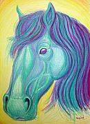 Colored Pencils Drawings - Horse profile by Nick Gustafson