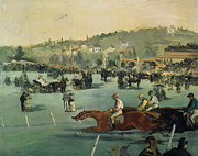 Crowds Paintings - Horse Racing by Edouard Manet