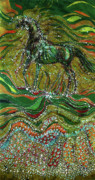 Energy Tapestries - Textiles Posters - Horse Rises From The Earth Poster by Carol Law Conklin