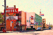 Motel Digital Art Prints - Horse Shoe Motel Print by Wingsdomain Art and Photography