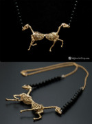 Horse Art Jewelry - Horse Skeleton Pendant by Nicholas Damario