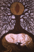 Horses Tapestries - Textiles Prints - Horse Sleeps Below Tree of Rebirth Print by Carol  Law Conklin