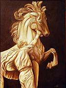 Wildlife Sculpture Posters - Horse Statue Poster by Nancy Bradley