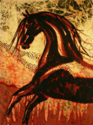 Wild Horse Tapestries - Textiles Posters - Horse Through Web of Fire Poster by Carol Law Conklin