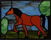 Horse Glass Art - Horse Trot by Gladys Espenson