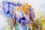 Abstract Equine Paintings - Horse Whisper by Donna Martin