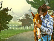 Horse Stable Mixed Media Posters - Horse Whisperer Poster by Jerry L Barrett
