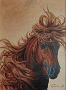 Hyperrealistic Painting Prints - Horse with a flowing mane Print by Alexander  Titorenkov