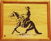 Woodcarving Sculpture Originals - Horse with Rider by Russell Ellingsworth