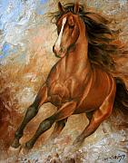 Wildlife Painting Metal Prints - Horse1 Metal Print by Arthur Braginsky