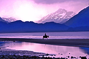 Rocky Mountain Horse Prints - Horseback Riding at Sunset Print by Scott Mahon