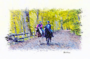 Horseback Digital Art - Horseback Riding  by Bill Cannon