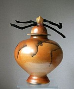 Horse Ceramics - Horsehair Raku Jar With Kelp by Jo Priestley