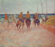 Wave Riders Posters - Horseman on the Beach Poster by Paul Gauguin