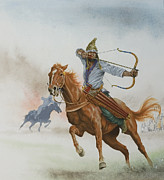Weapon Painting Posters - Horsemen from the Steppes Poster by English School