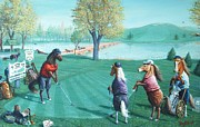 Playing Golf Prints - HORSEPLAYINGAROUND H Edition Print by Don Evans