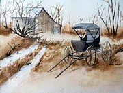 Old Barn Paintings - Horsepowered Winter Surrey Painting by Cindy Wright