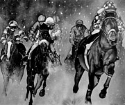 White Horses Drawings Prints - Horserace Print by Jerry Winick