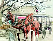 Amish Framed Prints - Horses and Carriage from Intercourse Pensylvania Framed Print by Morgan Fitzsimons