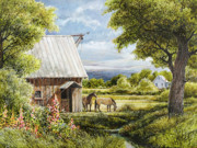 Nature Scene Paintings - Horses and Hollyhocks by Steve Spencer