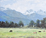 Teton Paintings - Horses at Teton Pass by Sandra Harris