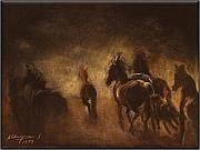 Race Pastels Originals - Horses by night by Kathlin Austin Beyond Gallery Cafe