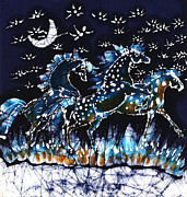 Blue Tapestries - Textiles Posters - Horses Frolic on a Starlit Night Poster by Carol Law Conklin