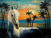 Original Art On Prints Painting Originals - Horses in Paradise  TELL ME YOUR DREAM by Gina De Gorna