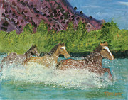 Quarter Horses Originals - Horses in Stream by Terry Lewey