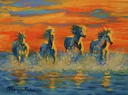 Theresa Paden Prints - Horses in the Sea at Sunset Print by Theresa Paden